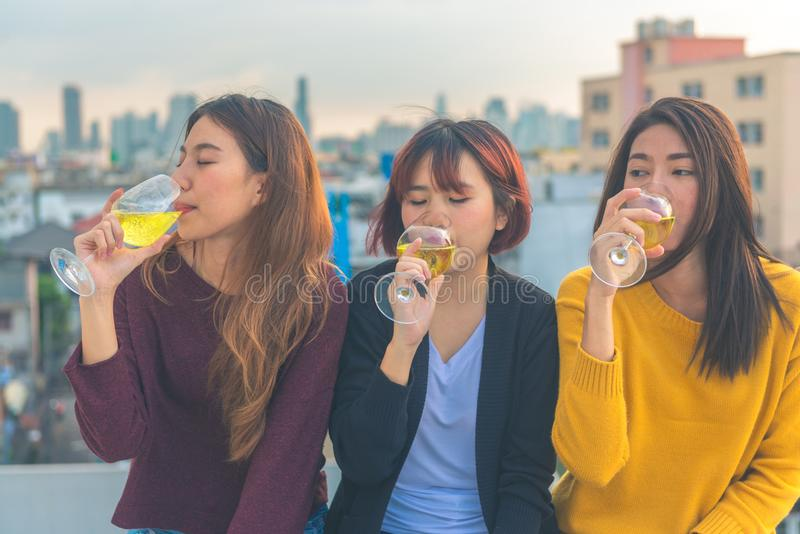 Outdoor shot of young people toasting drinks at a rooftop party. Young asian girl friends hanging out with drinks. stock image