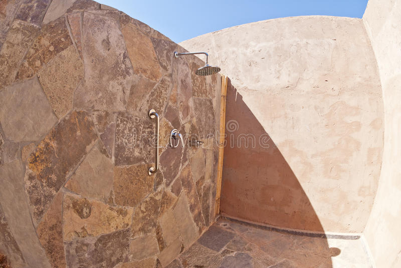 Download Outdoor Shower With Adobe Walls Stock Image - Image: 24364219