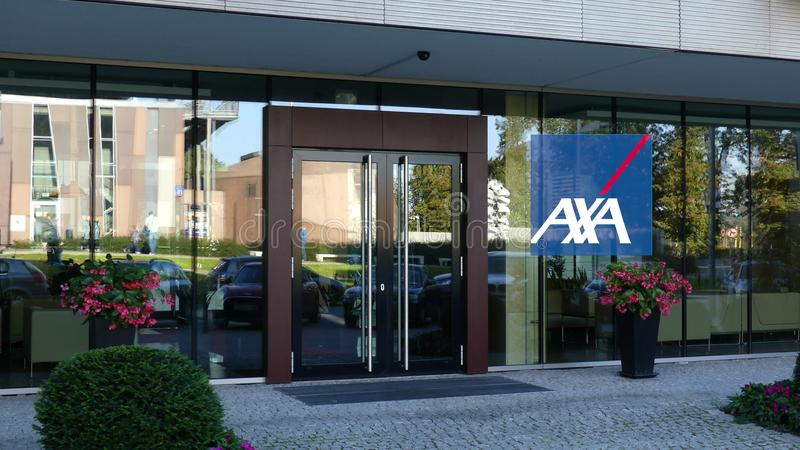 Glass facade of a modern office building with AXA logo. Editorial 3D rendering. Outdoor signage board with AXA logo. Modern office building. Editorial 3D stock photos