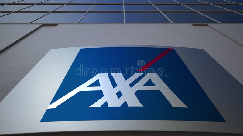 Outdoor signage board with AXA logo. Modern office building. Editorial 3D rendering. Outdoor signage board with AXA logo. Modern office building. Editorial 3D royalty free stock image