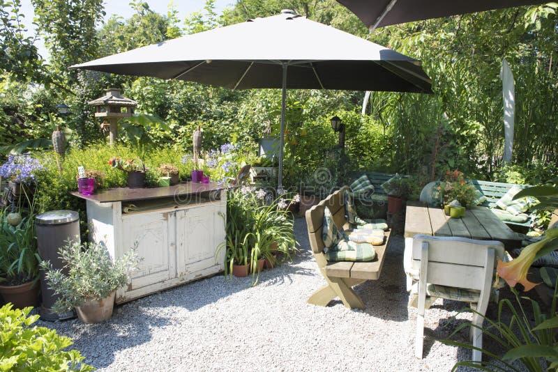 Backyard patio for outdoor living stock photos