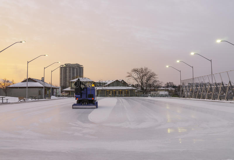 Outdoor skating rink being cleaned for early morning sunrise ska. Ters, healthy recreation winter scene royalty free stock images