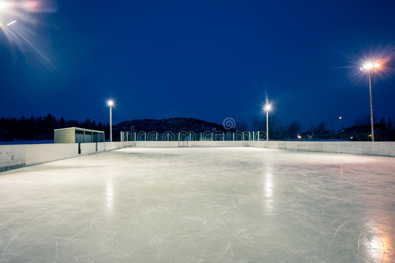 Outdoor skating rink. At night in quebec stock photo