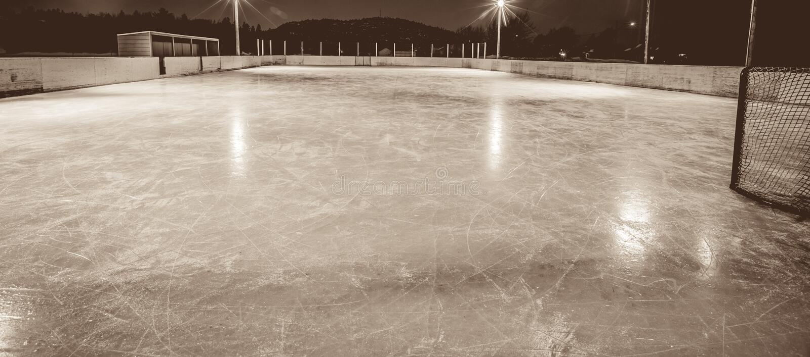 Outdoor skating rink. At night in quebec royalty free stock images