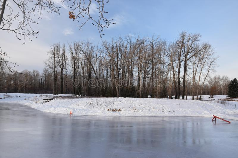 Outdoor Skating Rink on Pond. Outdoor Skating Rink royalty free stock photos