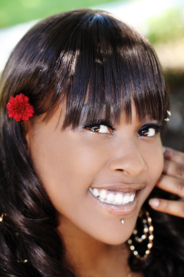 Outdoor Smiling Portrait Attractive African American Woman royalty free stock photo