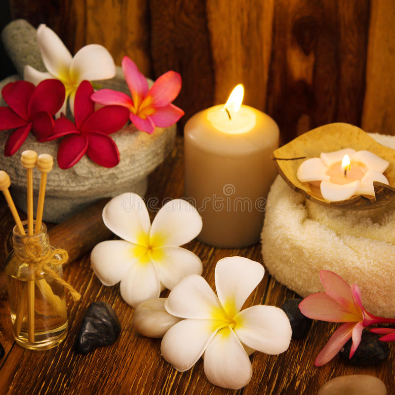 Outdoor spa massage setting stock images