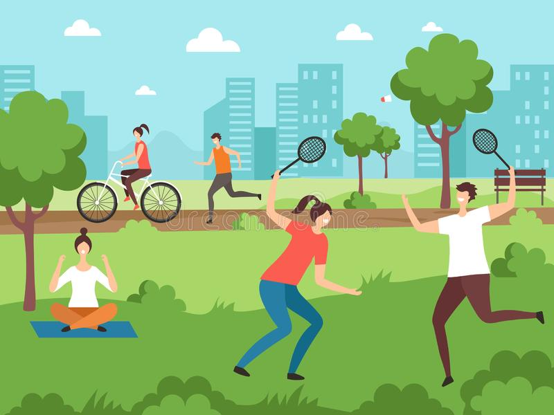 Outdoor sport activities. Fitness people making some exercises in park outdoor vector couples vector illustration