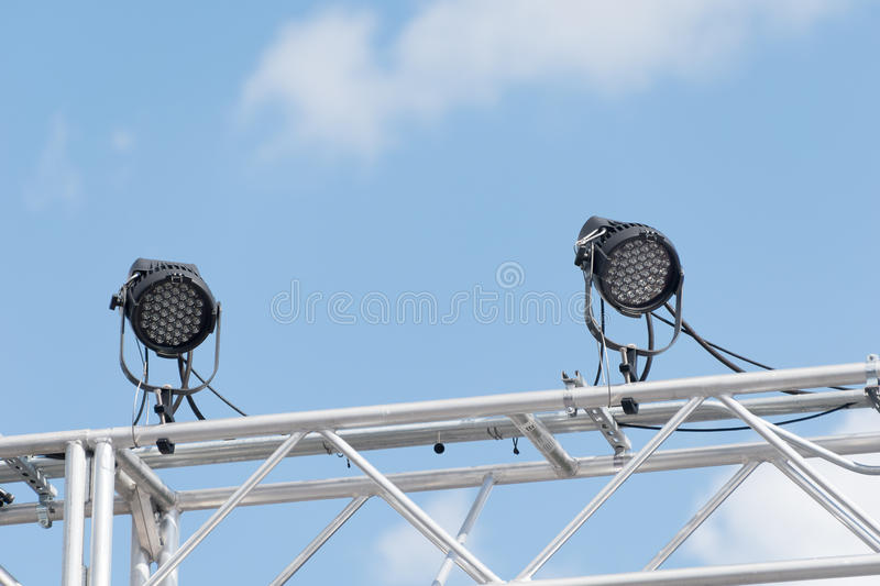 Outdoor stage lights stock photo