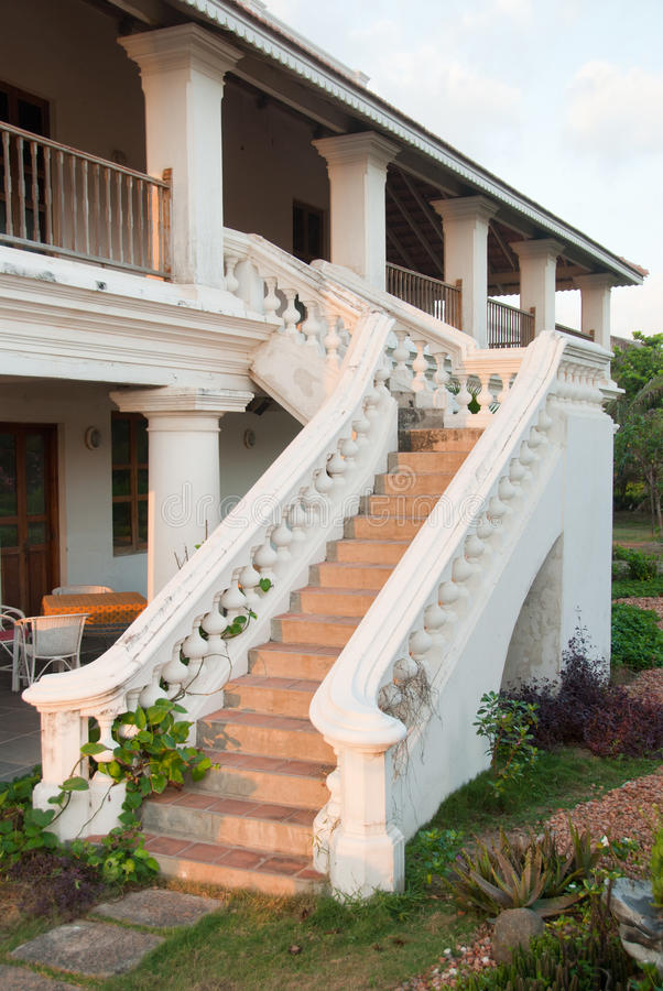 Captivating A Staircase Outside A Colonial Home