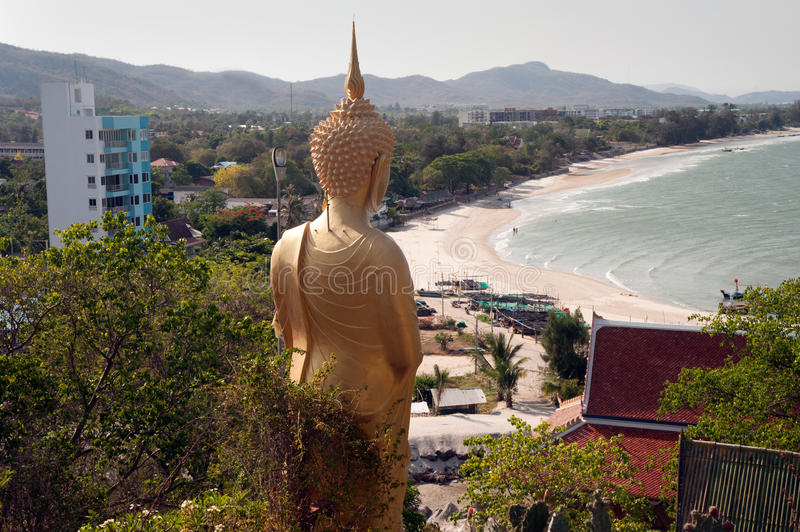 Outdoor standing Buddha on Kho Tao temple near Khao Tao beach,Thailand. stock photo