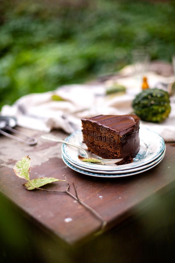 Outdoor still life in autumn garden with tasty slice of chocolate cake on vintage plates. Beautiful outdoor still life in autumn garden with tasty slice of royalty free stock image