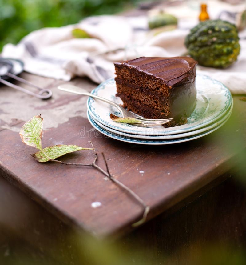 Outdoor still life in autumn garden with tasty slice of chocolate cake on vintage plates. Beautiful outdoor still life in autumn garden with tasty slice of stock images