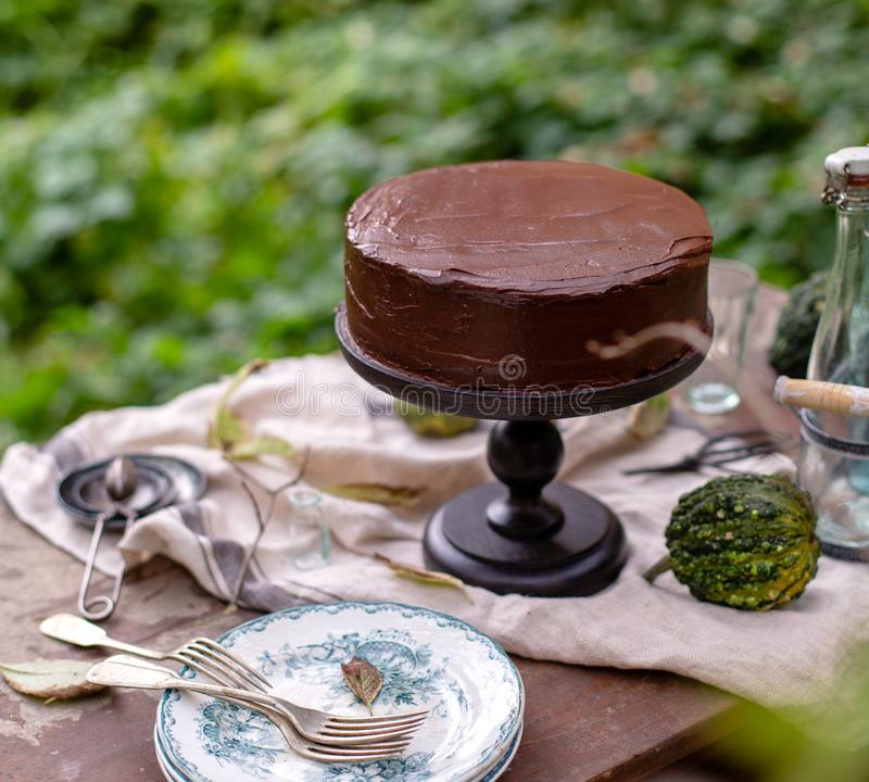 Outdoor still life in autumn garden with whole cake on wooden cake stand with chocolate cream. Beautiful outdoor still life in autumn garden with whole cake on royalty free stock photos
