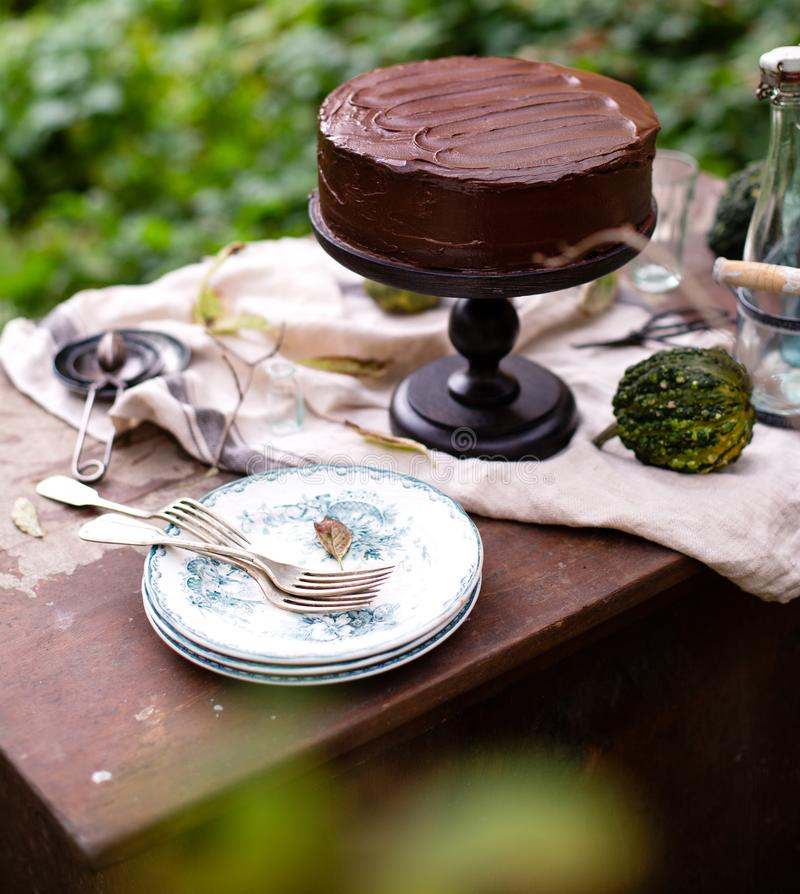 Outdoor still life in autumn garden with whole cake on wooden cake stand with chocolate cream. Beautiful outdoor still life in autumn garden with whole cake on royalty free stock photography
