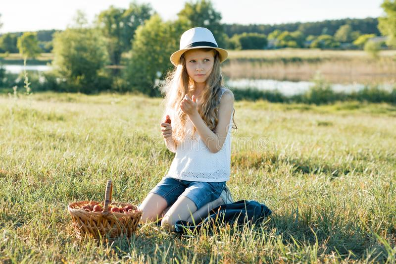 Outdoor summer portrait of little girl with basket strawberries, straw hat. Nature background, rural landscape, green meadow, stock photos