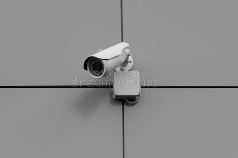 Outdoor surveillance camera. Securing the facility. stock photos