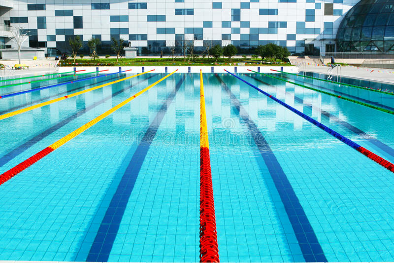 Outdoor Swimming Pool. Outdoor competition lap swimming pool stock photography