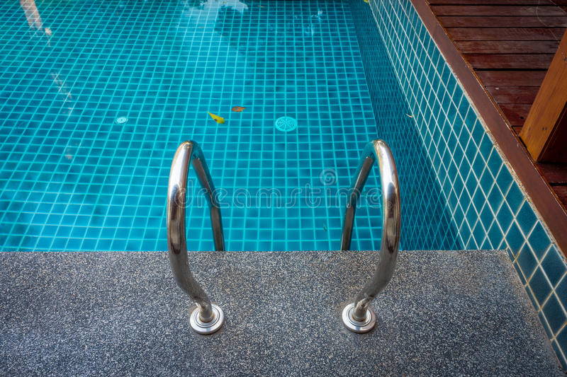 Outdoor Swimming Pool With Grab Rail Stock Photo - Image of ...