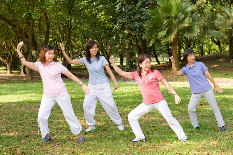 Outdoor Tai Chi. A group of asian ladies exercising in the park royalty free stock photography