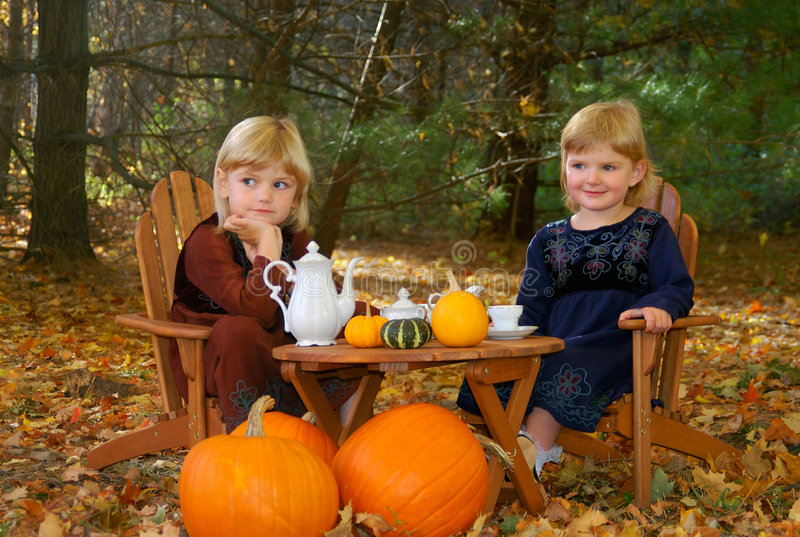 Outdoor tea party. Two young sisters having a tea party in the woods in autumn stock photos