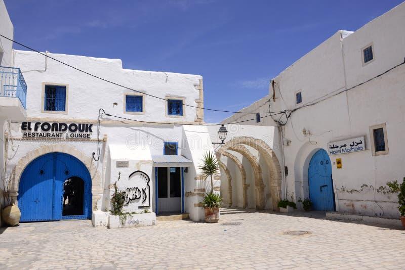 Outdoor Terrace, Restaurant and Hotel at Djerba Market, Tunisia. Outdoor entrance terrace from El Fondouk, a beautiful tea house and restaurant lounge, Djerba stock images