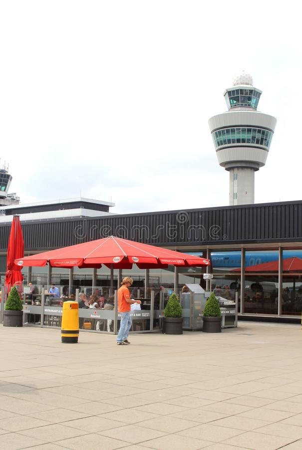 Outdoor terrace and control tower on the panorama platform, Amsterdam Schiphol Airport, Holland royalty free stock photos