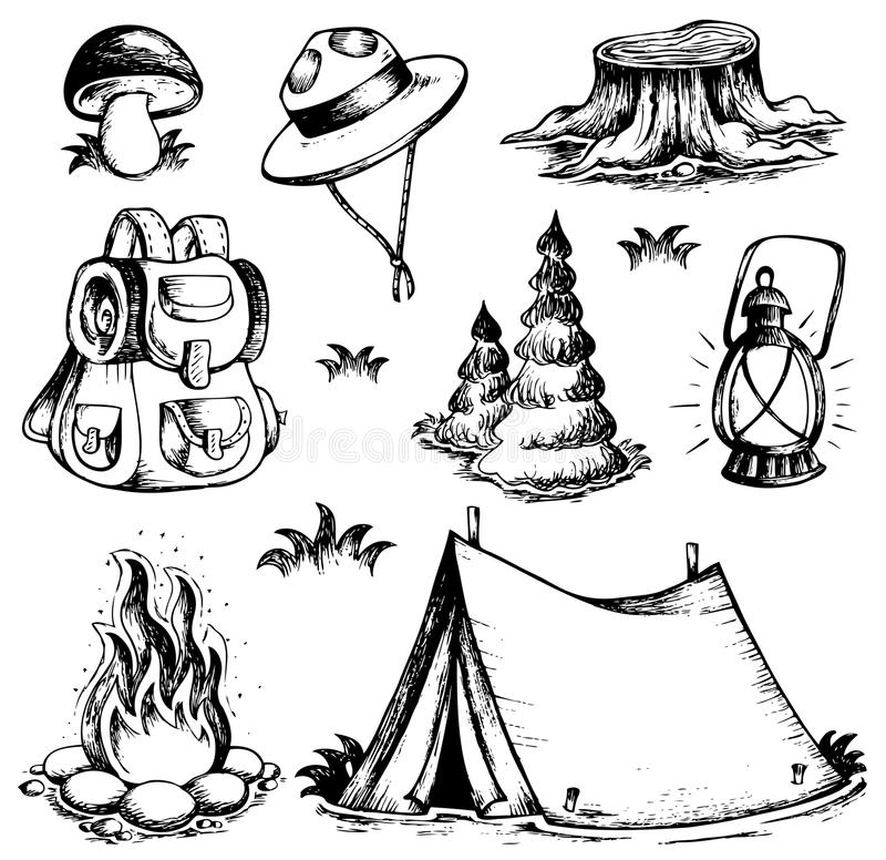 Outdoor theme drawings collection vector illustration