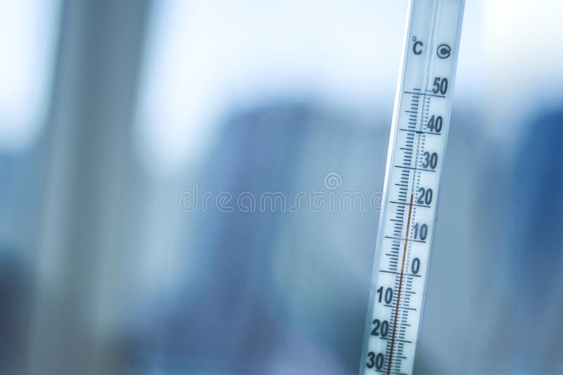 Outdoor thermometer on the window stock photos