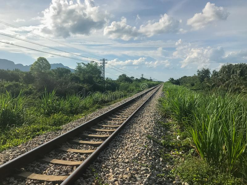 Outdoor train rail road at Phatthalung. Thailand stock images