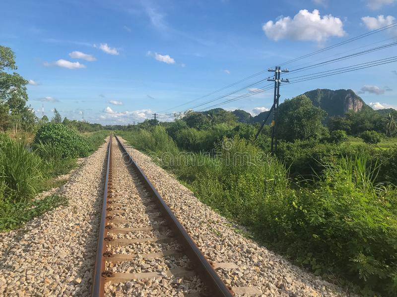 Outdoor train rail road at Phatthalung. Thailand royalty free stock photos