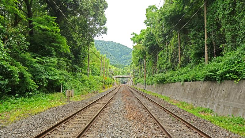 Outdoor train track in Japan perspective angel. The outdoor train track in Japan from perspective angel stock photos