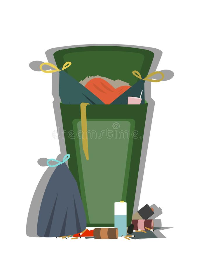 Outdoor trash can full of garbage isolated vector stock illustration