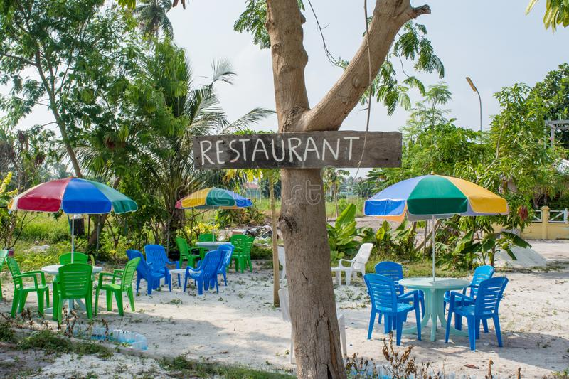Outdoor tropical restaurant at island in Maldives stock photo