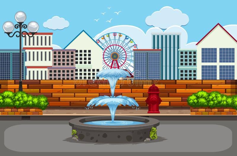 Outdoor urban town scene stock illustration