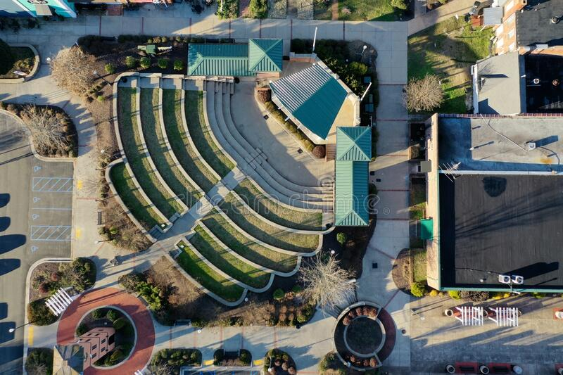 Outdoor venue. Aerial view of outdoor stage and seating venue stock photography