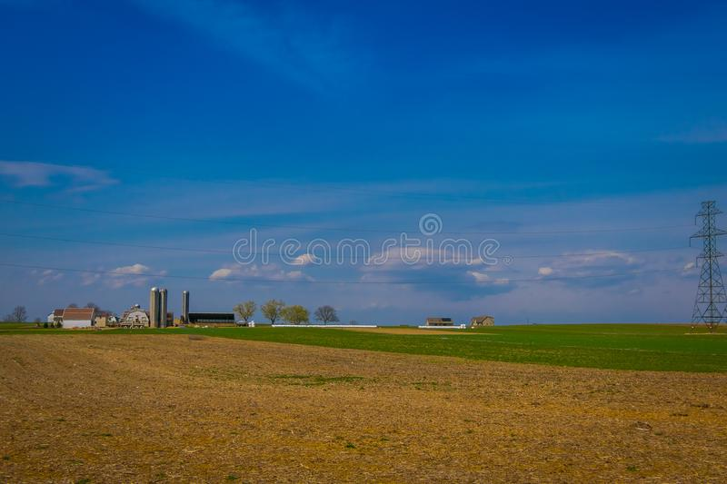 Outdoor view of Amish country farm barn field agriculture in Lancaster royalty free stock photography