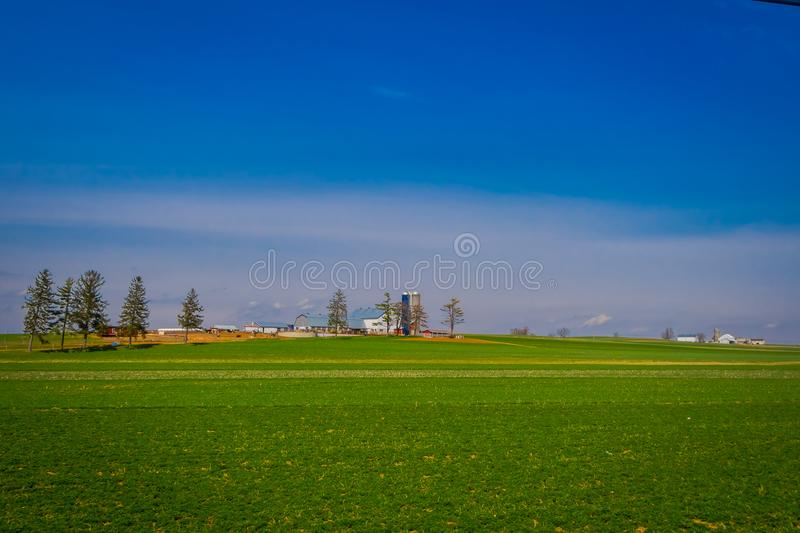 Outdoor view of Amish country farm barn field agriculture in Lancaster. In Pennsylvania, USA royalty free stock images