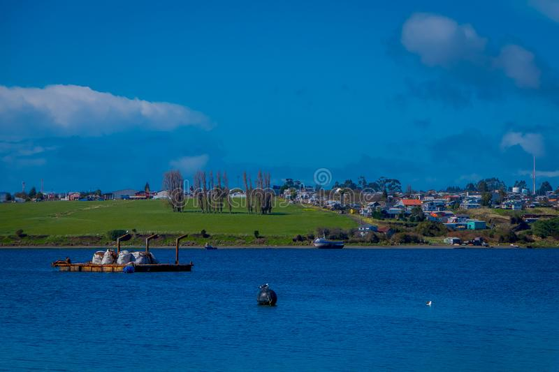 Outdoor view of building sin the horizont located in Chiloe island, Chile.  royalty free stock images