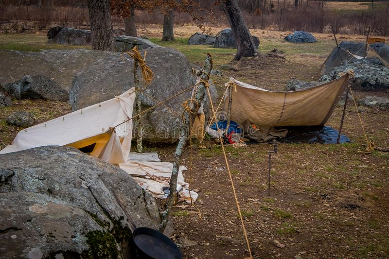 Outdoor view of campament construction during Civil War representation Reenactment in Moorpark, is the largest battle. Reenactment west in Pennsylvania stock image