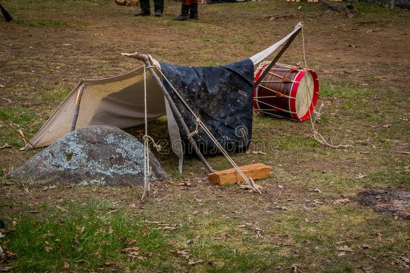 Outdoor view of campament construction during Civil War representation Reenactment in Moorpark, is the largest battle. Reenactment west in Pennsylvania stock photography