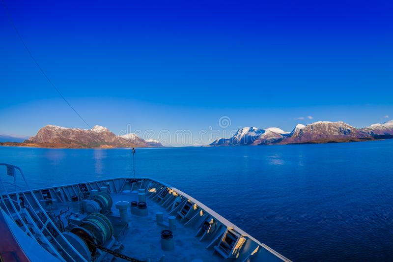 Outdoor view of hurtigruten Ship cruise, frontside. Sailing in a blue sky in Norway stock images