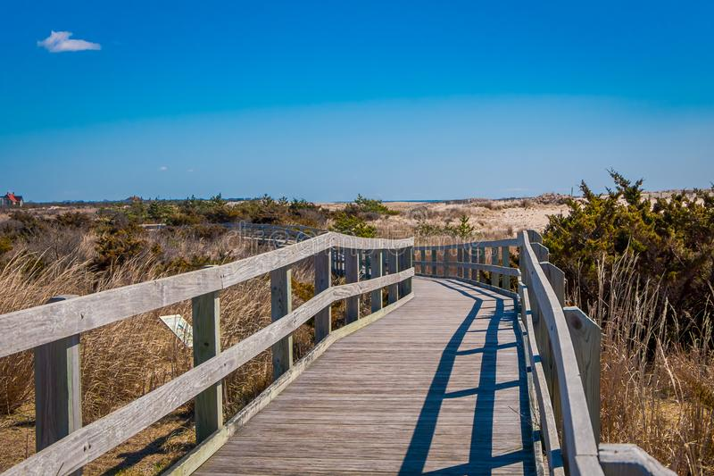 Outdoor view of long wooden bridge in a beautiful sunny day with blue sky, at Long island royalty free stock photography