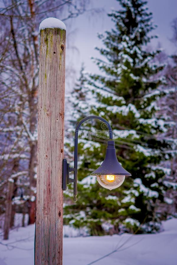 Free Outdoor View Of Light Posts Close To Pine Forest Covered With Snow In Norway Royalty Free Stock Photo - 113188125