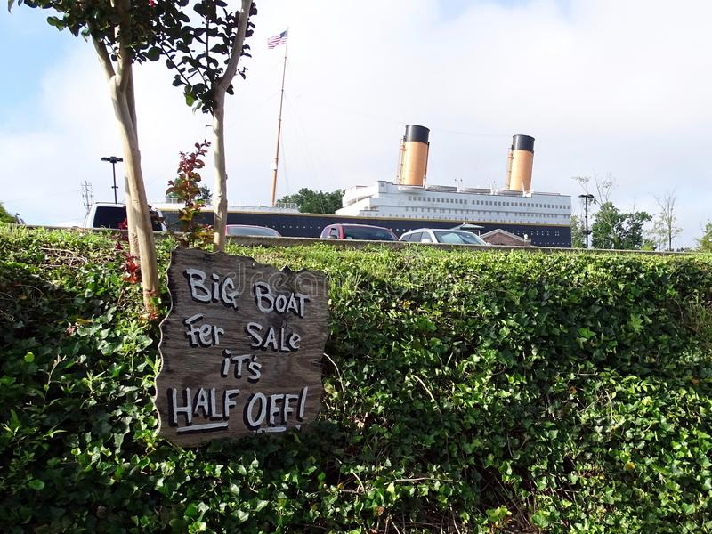 An outdoor view of the Titanic Museum attraction housing many artifacts from stock photos
