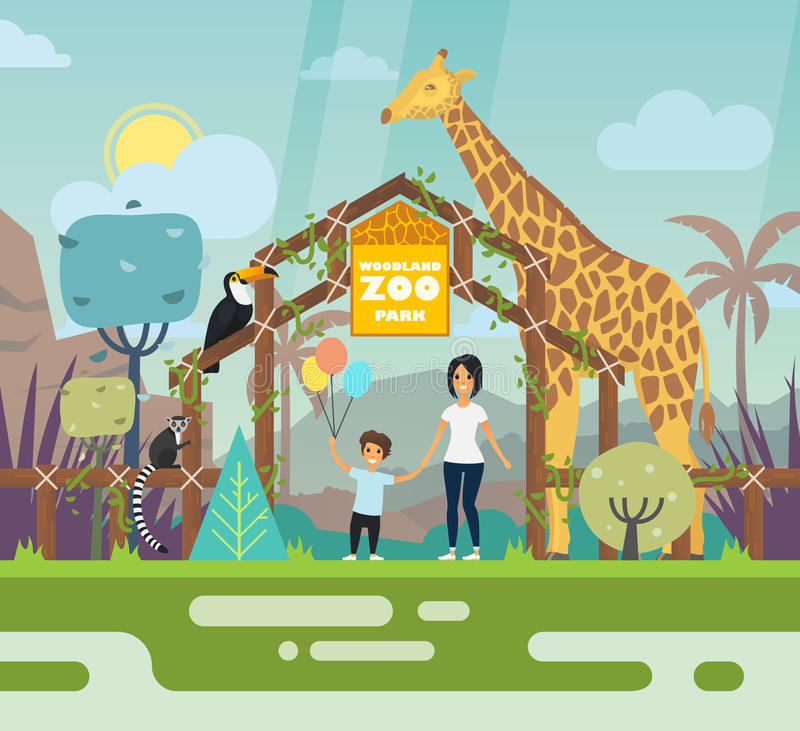 Outdoor view on zoo entrance with animals royalty free illustration