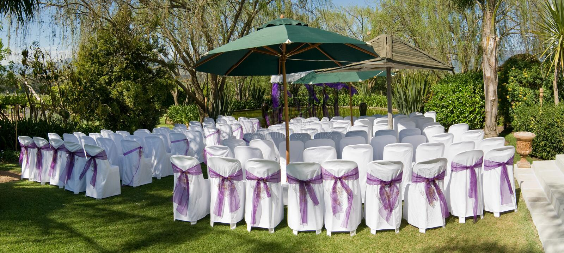 Outdoor wedding ceremony stock images