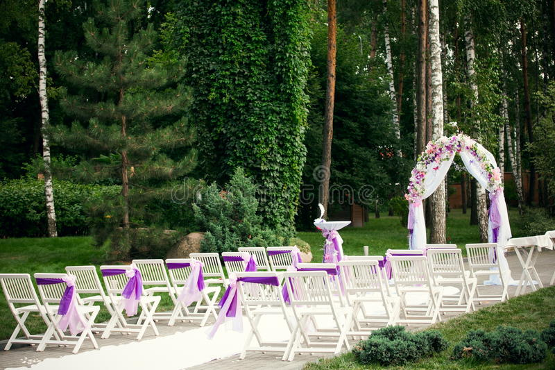 Brown Chairs Outdoor Ceremony Decorations: Outdoor Wedding Ceremony Decoration Stock Photo