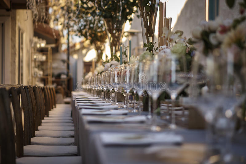 Outdoor wedding reception stock image