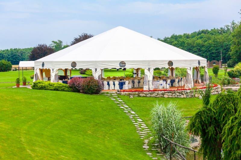 Outdoor wedding reception stock photos